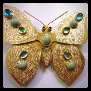 KJL golden butterfly hair clip turquoise cabochons
